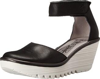 Fly London Women Yand709Fly Ankle Strap Wedges Black (Black/Off White 000) 3 UK 36 EU