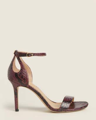 Lauren Ralph Lauren Purple Gretchin Anke Strap Snakeskin Sandals