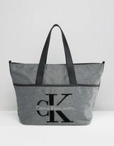 Calvin Klein Logo Gray Large Tote Bag