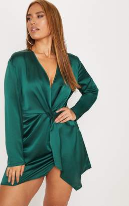 PrettyLittleThing Plus Emerald Green Satin Long Sleeve Wrap Dress