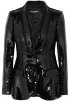 Dolce & Gabbana Sequined Satin Blazer - Black