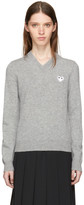Comme des Garcons Grey & White Heart Patch V-Neck Sweater