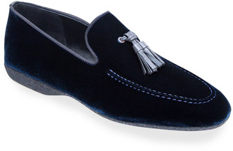 Paul Stuart Men's Hope Velvet Tassel Loafers, Blue
