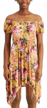 Ultra Flirt Juniors' Floral Handkerchief-Hem Dress