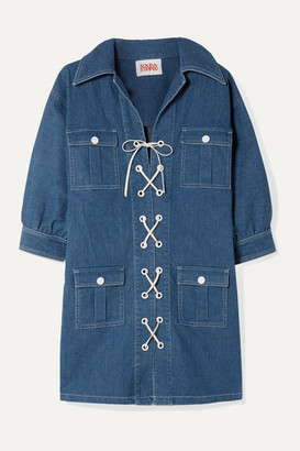 Solid & Striped Lace-up Denim Mini Dress - Mid denim