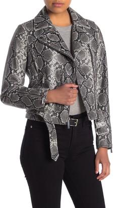MICHAEL Michael Kors Snakeskin Embossed Leather Belted Crop Jacket