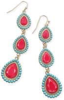 Thalia Sodi Gold-Tone Blue & Red Stone Triple Drop Earrings, Created for Macy's