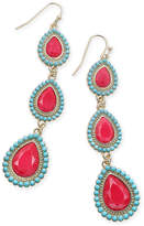 Thalia Sodi Gold-Tone Blue & Red Stone Triple Drop Earrings, Only at Macy's