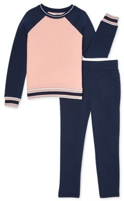 Athletic Works Girls 4-18 & Plus Core Fleece Colorblock Sweatshirt and Sweatpants, 2-Piece Set