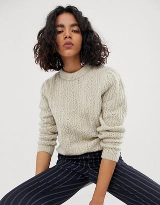 Asos Design DESIGN chunky jumper with stitch detail-Beige