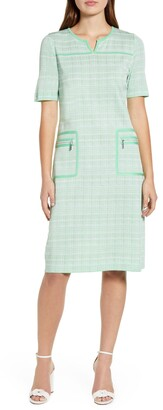 Ming Wang Short Sleeve Tweed A-Line Dress