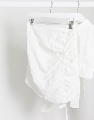 Rare London ruched mini skirt two-piece in white