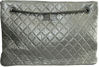 Chanel Grey Quited Leather Metallic Reissue Tote Bag