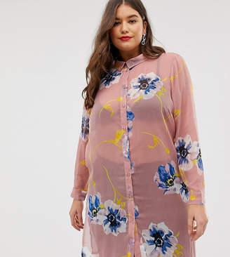 Junarose floral long line shirt-Pink