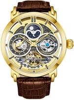 Stuhrling Original Men's Goldtone Luciano Skeleton Watch, Leather Strap