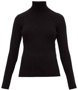 Balenciaga High-neck Rib-knitted Sweater - Womens - Black