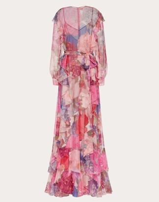 Valentino Printed Chiffon Evening Dress Women Multicoloured Silk 100% 36