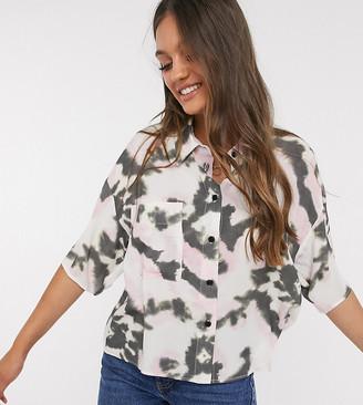 ASOS DESIGN Petite short sleeve shirt in tie dye print