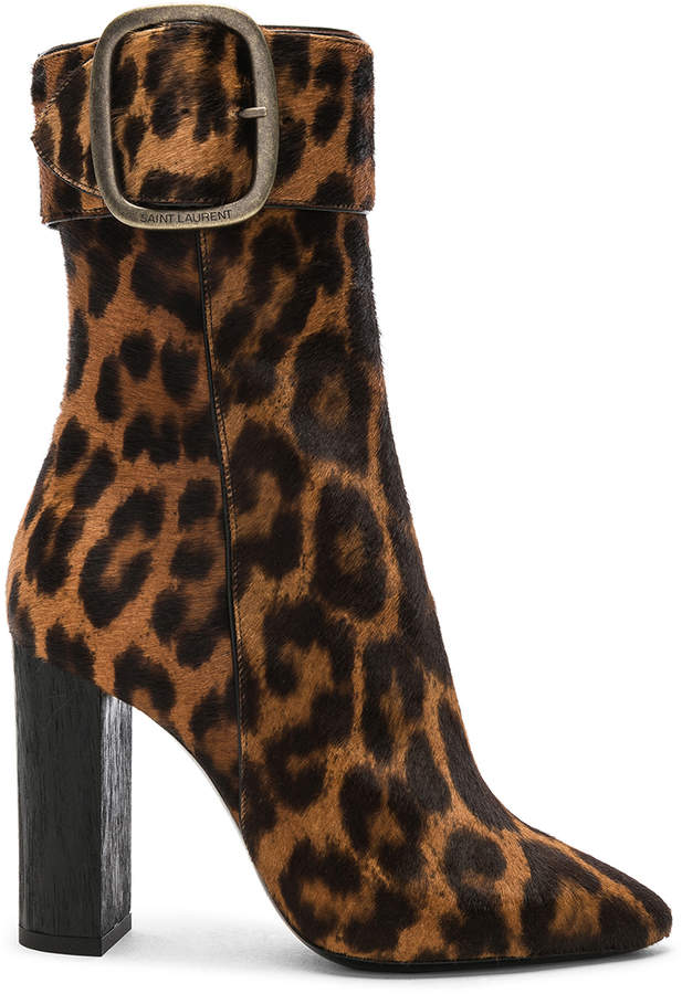 06cbe15ba4 Leopard Print Pony Hair Joplin Buckle Boots in Natural | FWRD