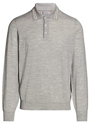 Brunello Cucinelli Long-Sleeve Striped Collar Polo Shirt