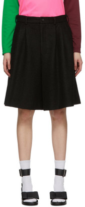 Comme des Garcons Black Wool Pleated Shorts