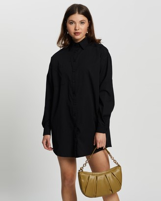 Missguided Women's Black Mini Dresses - Oversized Shirt Dress - Size 8 at The Iconic