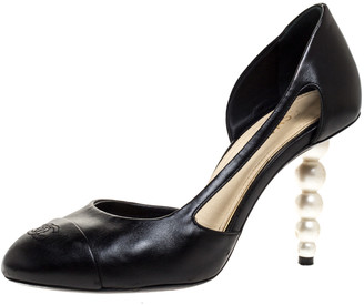 Chanel Black Leather Faux Pearl Heel Pumps Size 38