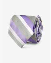 Express diagonal stripe narrow silk blend tie