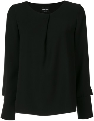 Giorgio Armani Pleated Long-Sleeve Blouse