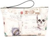 Alexander McQueen postcard and skull print clutch