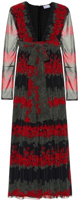 RED Valentino pleated floral midi dress