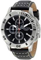 """Nautica Men's N18641G Bfd 101 """"Dive Style"""" Stainless Steel Casual Watch with Leather Band"""