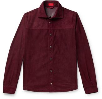 Isaia Suede Jacket - Men - Burgundy