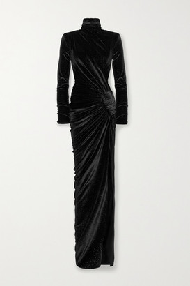 Alexandre Vauthier Ruched Crystal-embellished Stretch-velvet Turtleneck Gown - Black