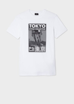 Paul Smith Men's White Slim-Fit 'Tokyo Cycle Collective' Print Organic Cotton T-Shirt