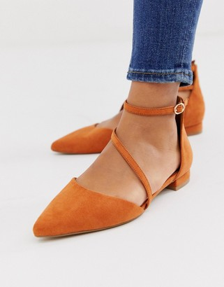 Asos DESIGN Lifetime pointed ballet flats in rust