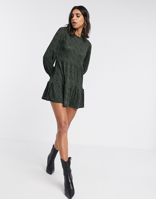 Stradivarius ribbed dress with black and green floral print