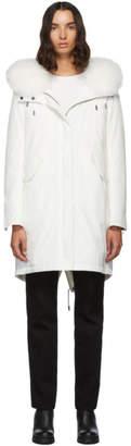 Yves Salomon Army White Down and Fur Bachette Coat