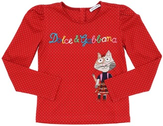 Dolce & Gabbana PRINTED L/S COTTON JERSEY T-SHIRT