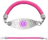 "Divoti Custom Engraved Lovely Filigree Medical Alert Bracelet -Pink Lamb Leather Band-Purple-8.5"""