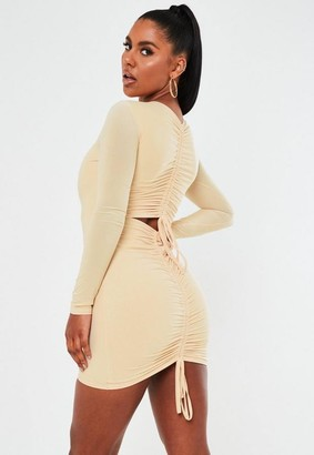 Missguided Cream Slinky Long Sleeve Ruched Bum Mini Dress