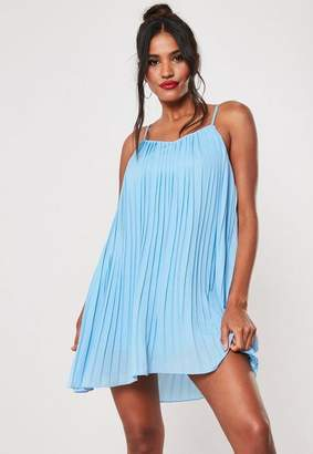 Missguided Blue Strappy Pleated Mini Dress
