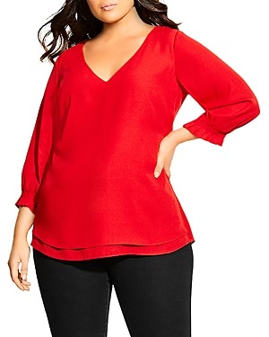 City Chic Plus Pleated-Sleeve Top