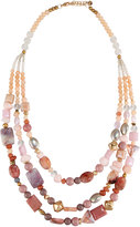 Nakamol Long Triple-Strand Beaded Necklace, Pink Mix