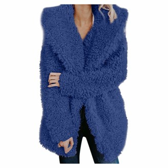 Tuduz Outerwear TUDUZ Womens Artificial Wool Cardigan Coat Jacket Ladies Winter Warm Turn-Down Collar Fuzzy Fleece Open Front Parka Outwear(YA Blue S)
