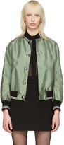 Miu Miu Green Oversized Patches Bomber Jacket