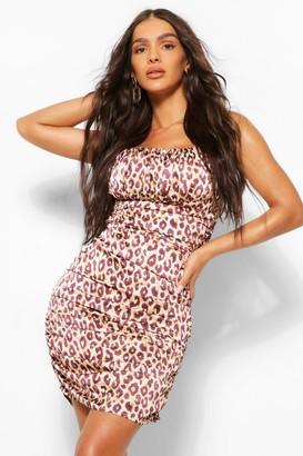 boohoo Leopard Print Satin Ruched Midi Dress