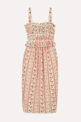 Brock Collection Grosgrain-trimmed Floral-print Silk-georgette Midi Dress - Pastel pink