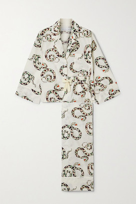 Desmond & Dempsey India Printed Organic Cotton Pajama Set - Cream