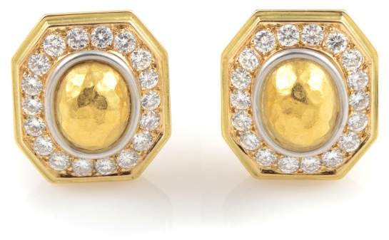 Chaumet 18K Yellow Gold Diamond Clip-On Earrings